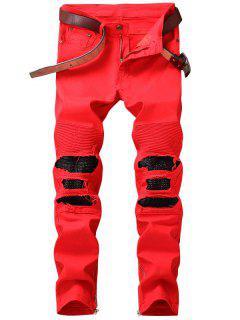 Zipper Hem PU Insert Biker Jeans - Red 34
