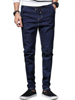 Drawstring Zip Fly Tapered Jeans - Deep Blue 34