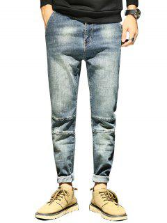 Tapered Fit Zip Fly Faded Jeans - Light Blue 34