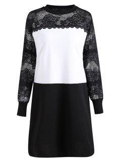 Plus Size See Through Lace Panel Long Sleeve Dress - Black 4xl
