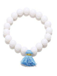 Tassel Bead Stretch Bracelets - White