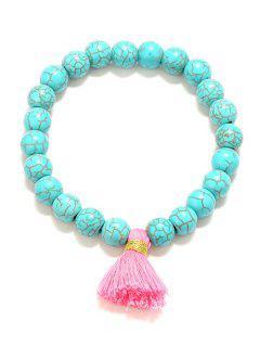 Tassel Bead Stretch Bracelets - Turquoise Blue