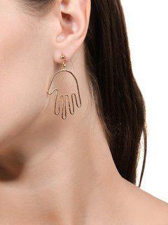 Hollow Hand Shape Dangle Earrings - Golden