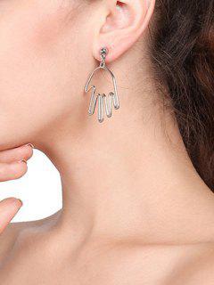 Hollow Hand Shape Dangle Earrings - Silver