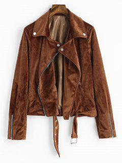 Plain Asymmetric Zipper Faux Suede Jacket - Brown M