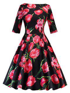 Vintage Blumendruck A Line Party Kleid - Schwarz&rot 2xl