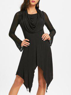 Vestido De Pañuelo Midi De Cuello Convertible - Negro 2xl