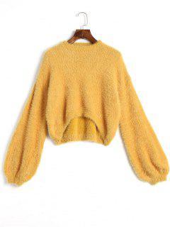 Hoher Niedriger Mohair-Pullover - Ingwer-gelb
