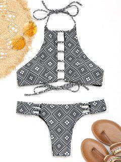 Lader Hohe Hals Geometrischer Bikini Set - Weiß & Schwarz L