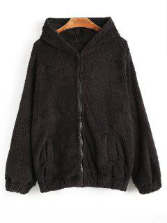 Bear Hooded Furry Coat - Black