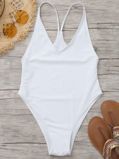 Unlined High Cut One Piece Swimsuit - White L