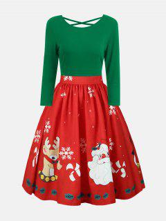 Plus Size Christmas Print Criss Cross Dress - Green Xl