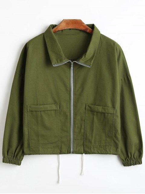 Chaqueta de camisa corta con cremallera - Ejercito Verde L Mobile