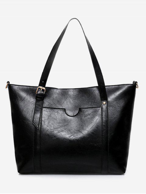 outfits Stud Buckle Strap Shoulder Bag - BLACK  Mobile