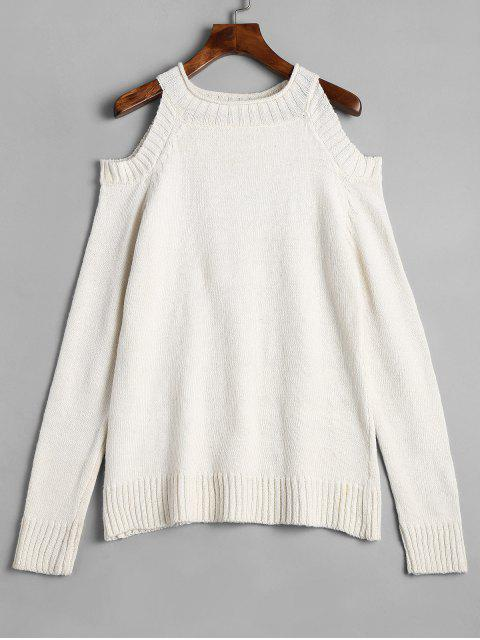 trendy Plain Cold Shoulder Pullover Sweater - OFF-WHITE M Mobile