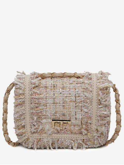 Sac à bandoulière à bord effrangé et à carreaux de couleur assortie - Blanc Cassé  Mobile