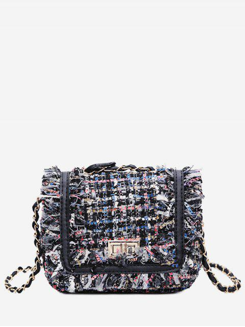 women's Color Block Plaid Frayed Edge Crossbody Bag - BLUE  Mobile