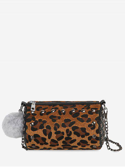 new Studs Pompom Chain Crossbody Bag - LEOPARD GOLD COLOR LENS  Mobile