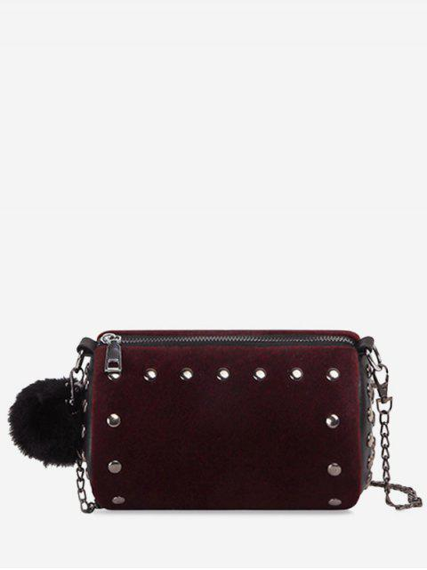 outfits Studs Pompom Chain Crossbody Bag - PURPLISH RED  Mobile