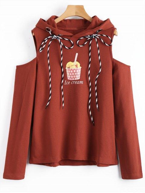 Hoodie mit Kalter Schulter und Eiscreme-Grafik - Ziegelrot L Mobile