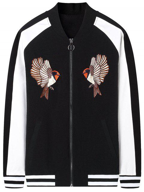 buy Zipper Bird Embroidered Bomber Jacket - BLACK 2XL Mobile