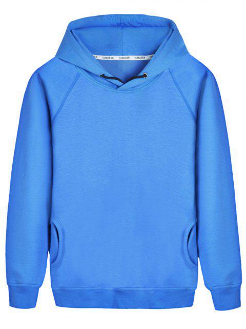 shop Pullover Raglan Sleeve Hoodie - BLUE L Mobile