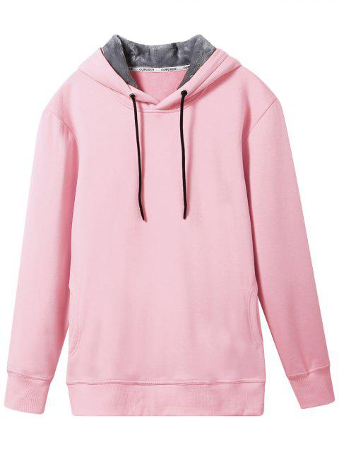fashion Pullover Soft Woolen Lining Hoodie - PINK L Mobile