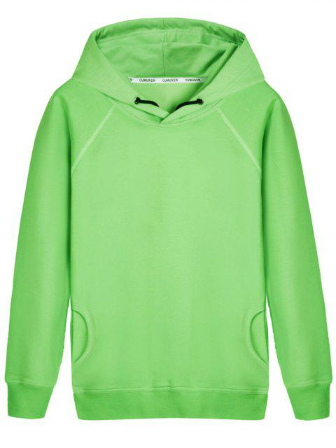 chic Pullover Raglan Sleeve Hoodie - LIGHT GREEN 2XL Mobile