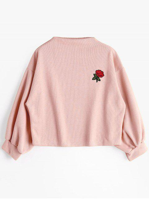 fashion Lantern Sleeve Rose Embroidered Patches Sweatshirt - PINK ONE SIZE Mobile
