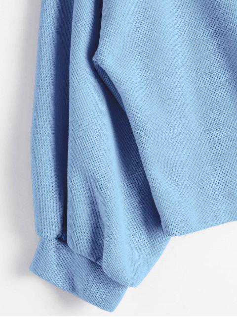 chic ZAFUL Lantern Sleeve Rose Embroidered Patches Sweatshirt - LIGHT BLUE ONE SIZE Mobile
