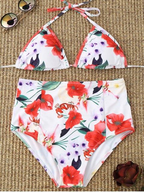 Blumen Halter Hohe Taillierter Bikini - Weiß S Mobile