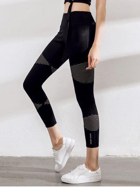 Pantalones de yoga Capri con corte de malla de láser - Negro M Mobile