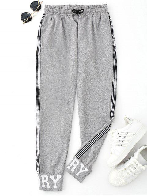 Graphic Drawstring Sporty Jogger Pants - Gris L Mobile