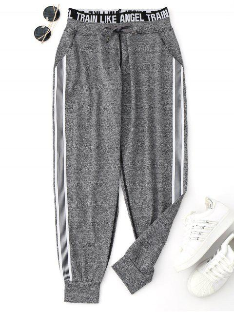women Drawstring Graphic Yoga Jogger Pants - GRAY S Mobile