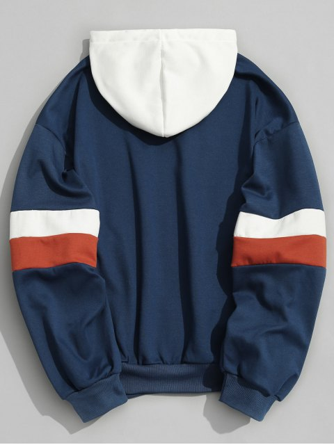women Pockets Color Block Hoodie Men Clothes - BLUE M Mobile