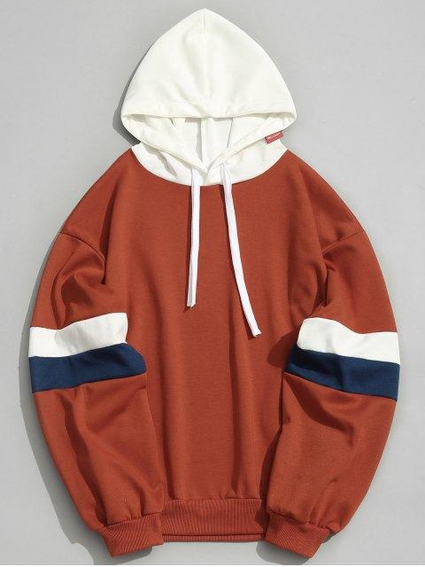 fashion Pockets Color Block Hoodie Men Clothes - ORANGE M Mobile