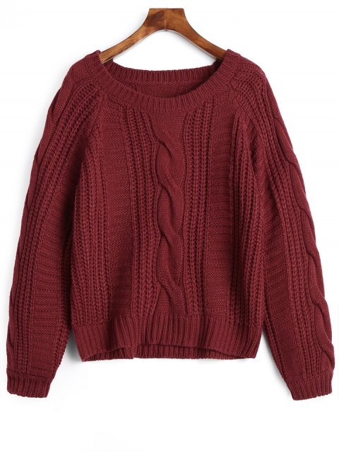 hot Plain Cable Knit Chunky Sweater - DEEP RED ONE SIZE Mobile