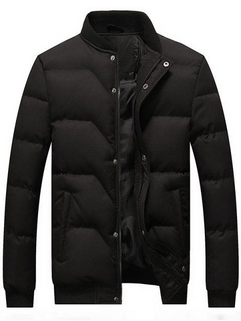 new Zip and Button Padded Bomber Jacket - BLACK 4XL Mobile