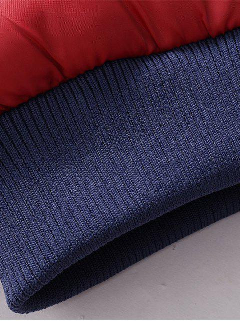 ladies Two Tone Detachable Hood Graphic Padded Jacket - KHAKI 4XL Mobile