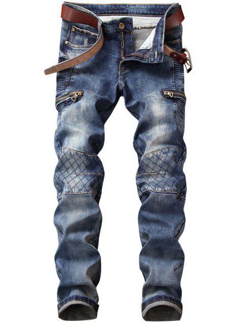 Netto-Muster-Reißverschluss verschönerte gerade Jeans - Blau 36 Mobile