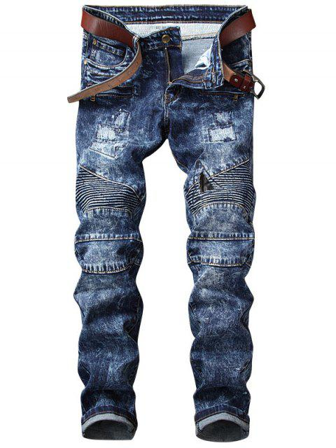 best Snow Wash Straight Leg Biker Jeans - BLUE 34 Mobile