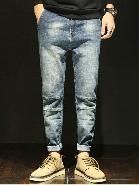 outfit Tapered Fit Zip Fly Faded Jeans - LIGHT BLUE 34 Mobile