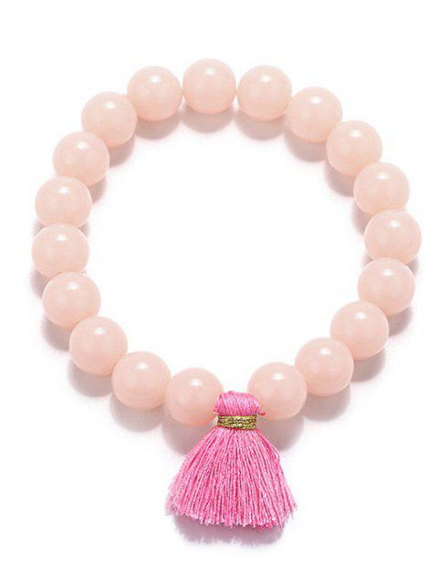 ladies Tassel Bead Stretch Bracelets - PINK  Mobile