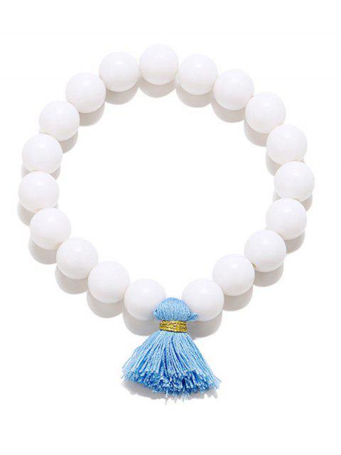 Quaste Perlen Stretch Armbänder - Weiß  Mobile