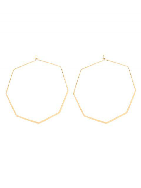 womens Geometric Metal Hoop Earrings - GOLDEN  Mobile