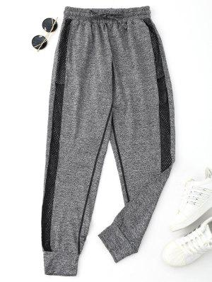 Drawstring Mesh Sporty Jogger Pants