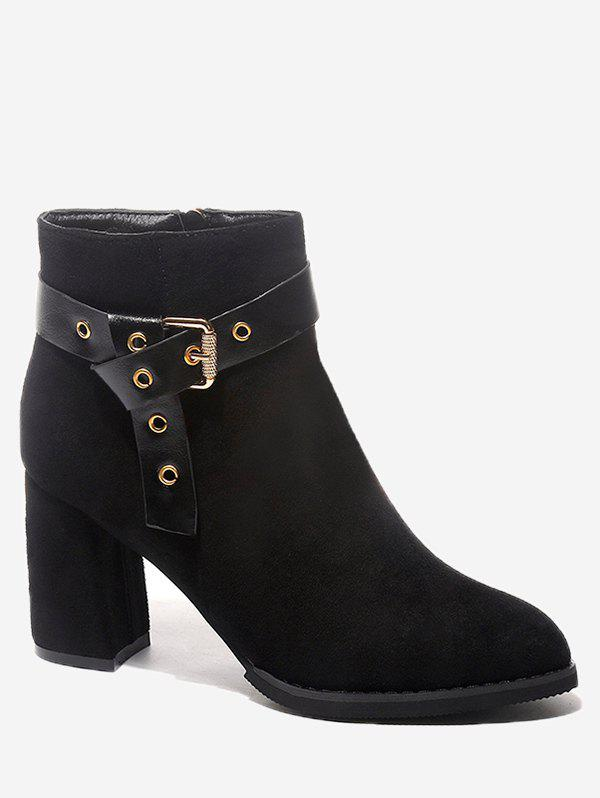 Buckle Strap Accent Chunky Heel Ankle Boots 233871904