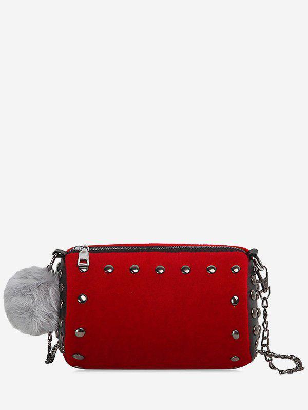 Studs Pompom Chain Crossbody Bag