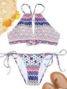 Kreuz Zurück Schlüsselloch Gedruckt String Bikini - S