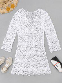 الكروشيه التستر اللباس - أبيض